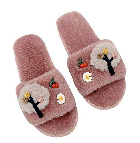 Women Fuzzy House Slippers, Open Toe Slippers with Plush Upper, Indoor Bedroom Shoes Anti-Skid Sole (Pink, L)