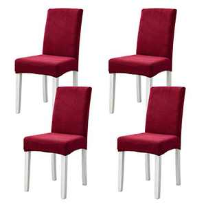 Chair Covers for Dining Room, Seat Slipcover for Dining Chairs, Parson Chair Slipcovers Washable Removable (Wine Red, 4)