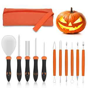 Flashda Pumpkin Carving Kit with Professional Detail Sculpting Tools, 11 PCS Upgrade Heavy Duty Stainless Steel Carver, Elves Pattern Designed Handle Halloween Pumpkin Carving Tools with Handbag