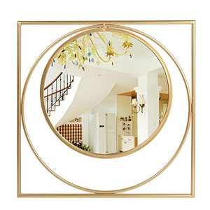 "Jeneric Large Square Metal Frame Mirror, Decorative 24"" Wall Mounted Round Mirror for Bedroom, Bathroom, Living Room, Entryway, Gold Vanity Mirror"