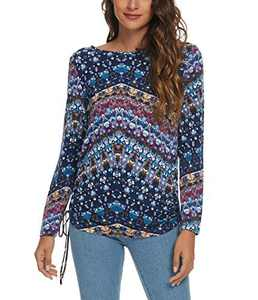 Women's Long Sleeve Boat Neck Drawstring Floral Tops (M, 5)