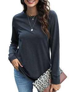Women Tops Long Sleeve Shirts for Women Cotton Sweatshirts Loose Fitting Casual Tunics Blouse Dark Gray