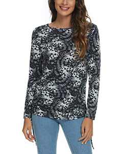 Women's Long Sleeve Boat Neck Drawstring Floral Tops (S, 4)