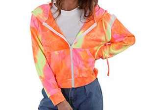 Aladuo Women's Tie Dye Casual Zip Up Hoodie Lightweight Sweatshirt Long Sleeve Jacket Coat with Pockets Camel