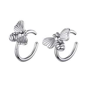 925 Sterling Silver Earrings for Women, Sterling Silver Bumble Bee Ear Cuff Earrings for Women Non Pierced Ears Fake Earrings, Ear Cuffs Hypoallergenic Earrings for Women Sensitive Ears