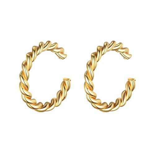 925 Sterling Silver Earrings for Women, Gold Ear Cuff Earrings for Women Non Pierced Ears Fake Earrings, Ear Cuffs Hypoallergenic Earrings for Women Sensitive Ears