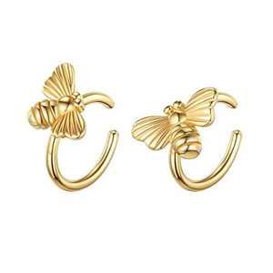 925 Sterling Silver Earrings for Women, Gold Bumble Bee Ear Cuff Earrings for Women Non Pierced Ears Fake Earrings, Ear Cuffs Hypoallergenic Earrings for Women Sensitive Ears