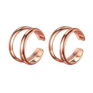 925 Sterling Silver Earrings for Women, Rose Gold Double Ear Cuff Earrings for Women Non Pierced Ears Fake Earrings, Ear Cuffs Hypoallergenic Earrings for Women Sensitive Ears