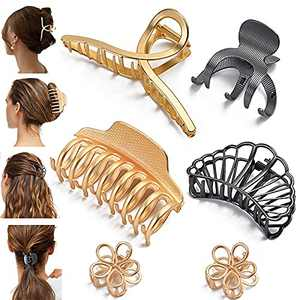 Large Metal Hair Claw Clips, Non-Slip Hollow Octopus Claw Hair Catch for Fixing Thick Hair,Matte Barrette Jaw Clamp for Women (Gold, Black)