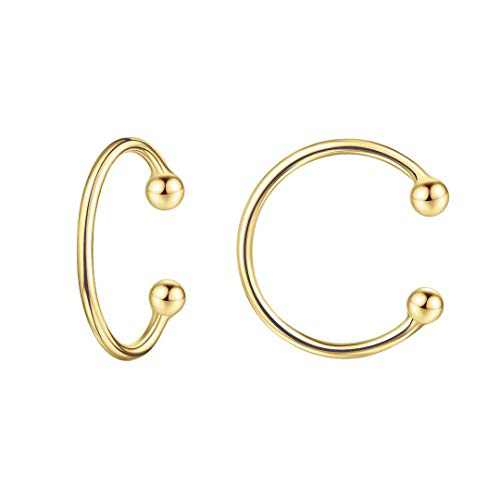 925 Sterling Silver Earrings for Women, Gold Ear Cuff Earrings for Women Non Pierced Ears Fake Earrings, Fake Cartilage Conch Hoop Helix Earrings Ear Cuff
