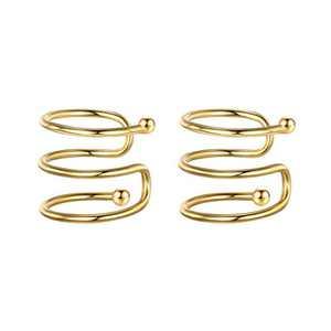 Ear Cuffs for Women Fake Earrings, 925 Sterling Silver Hypoallergenic Gold Ear Cuff Earrings for Women Non Pierced Ears
