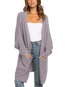 ANRABESS Women's Oversized Long Cardigans Sweater Batwing Sleeve Open Front Slouchy Lightweight Knitwear A260danzi-L