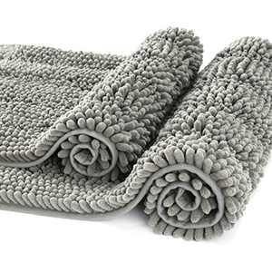CIICOOL Thick Chenille Bathroom Rugs Non Slip Bath Rugs Super Absorbent Bathroom Mat Machine Washable Bath Mats for Bathroom,Tub, Shower, Set of 2 - 20 x 32 / 17 x 24, Grey