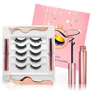 Magnetic Eyelashes with Eyeliner, False Eyelashes Natural Look Magnetic Lashes 5 Pairs, Fluffy Faux Mink Lashes Long-lasting Waterproof Reusable