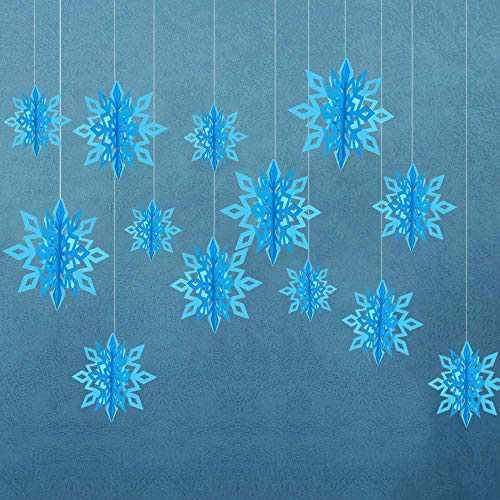RuRu monkey Winter Christmas Hanging Snowflake Decorations - 12PCS Snowflakes Garland & 12PCS 3D Glittery Large White Snowflake for Christmas (Blue)