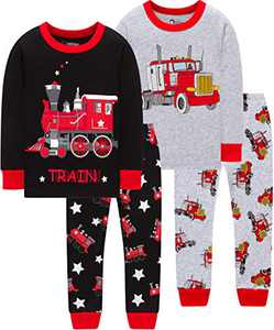 Boys Train Pajamas Christmas Baby School Monster Trucks Clothes Children Cotton Pants Set Sleepwear 8t
