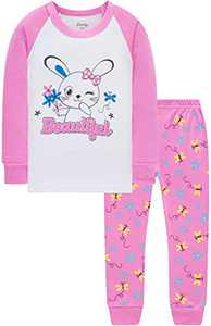 Little Girls Christmas Rabbit Pajamas Kids Pjs Children School Clothing Set Size 4
