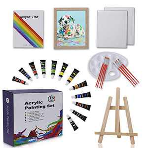 Art Painting Sets, Art Supplies for Kids,Includes Brushes, Acrylic Paints, Wood Table Easel, Palette, Pads, and Picture Frame, Professional Acrylic Paint Set for Students, Kids and Little Artists.