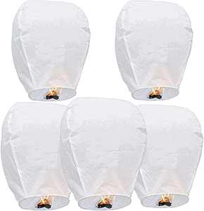 Chinese Lanterns, Sky Lanterns 100% Biodegradable, Eco-Friendly Paper Lanterns for Party, Birthday, Weddings, Celebrations, Memorial Ceremonies & Festivals (5-Pack)
