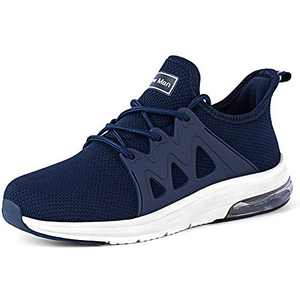 Tennis Shoes for Women - Gym Fitness Athletic Running Womens Shoes Mesh Comfortable Air Cushion Fashion Sneakers Navy Blue Size 8