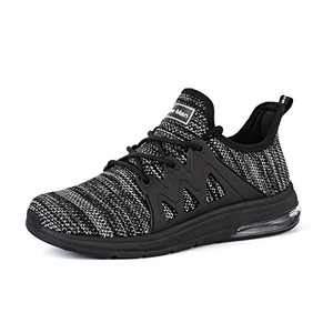 Tennis Shoes for Women - Gym Fitness Athletic Running Womens Shoes Mesh Comfortable Air Cushion Fashion Sneakers Black/Light Grey Size 9