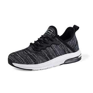 Running Shoes for Women - Gym Fitness Athletic Tennis Womens Shoes Mesh Comfortable Air Cushion Fashion Sneakers Black/Light Grey Size 9