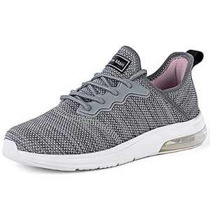 Running Shoes for Women - Gym Fitness Athletic Tennis Womens Shoes Mesh Comfortable Air Cushion Fashion Sneakers Light Grey/Pink Size 6.5