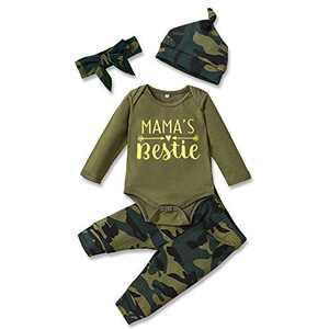 4PCS Newborn Baby Girl Boy Clothes Romper Jumpsuit Bodysuit +Camouflage Pants+Bows Headband+Hat Fall Winter Outfit Set (0-3M)
