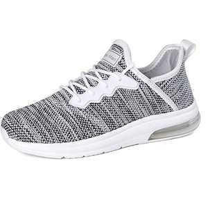 Running Shoes for Women - Gym Fitness Athletic Tennis Womens Shoes Mesh Comfortable Air Cushion Fashion Sneakers White/Black Size 7