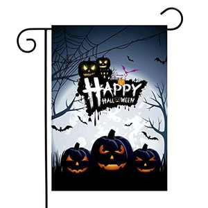 FAHZON Halloween Garden Flags Decorations 12 X 18 Inches Double Sided Happy Halloween Fall Pumpkin Outdoors Garden Flags Decor for Outside Yard Party