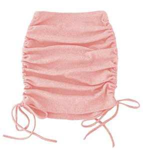 Mingnos Women's Ribbed Knit Adjustable Drawstring Stretchy Bodycon Pencil Mini Skirt (Pink, M)
