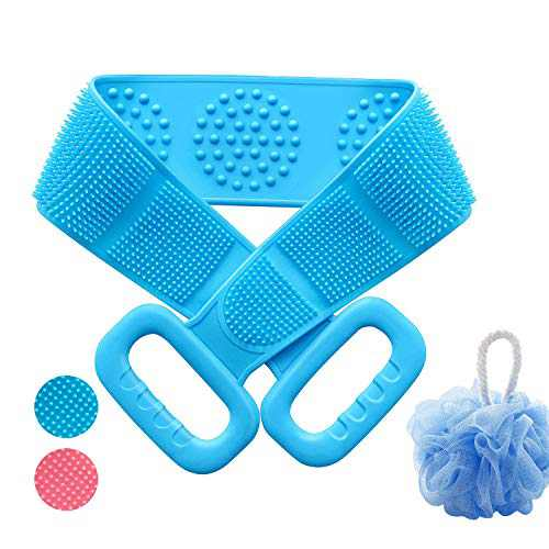 Upgraded Back Scrubber for Shower with Loofah, Anseya 31.5 Inch/80cm Silicone Body Brush, Extra Long Exfoliating Body Scrubber With Handle for Men and Women Deep Clean (Blue)