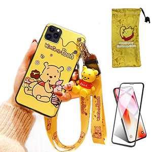iPhone 11 Pro Case with HD Screen Protector, Cute Cartoon 3D Animal Character Winnie Silicone Lanyard Protective Apple iPhone Case 5.8 Inch Kawaii Cover Case for Kids Girls