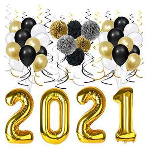 """Graduation Party Supplies 2021 -40"""" 2021 Foil Gold Balloons,Black Gold and White Latex Balloon,Black Gold Silver Hanging Party Swirls, Tissue Paper Pom poms 