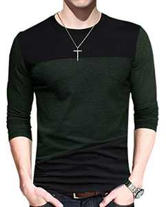 FRTCV Men's Casual Stitching Tops Shirts Slim Fit Crew Neck Long Sleeve Athletic Basic Cotton T-Shirt DZTPJ01 Green US S