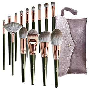 NEVSETPO Makeup Brushes Premium 14 Piece Stylish Girls Makeup Brushes Professional Makeup Kits for Kabuki Foundation Powder Contour Blush Concealer Eye Shadow Lip, Solid Wood Handle Cruelty-Free Bristle