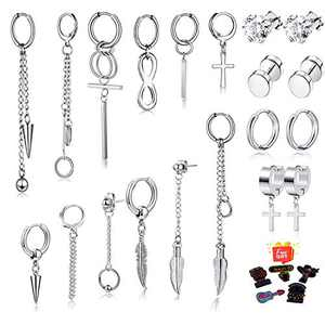20 Pieces Cross Dangle Earrings for Men, Stainless Steel Mens Earrings Stud Hypoallergenic, Long Chain Kpop Hinged Hoop Earrings,Cool Earrings Silver Set for Men Women with Storage Box