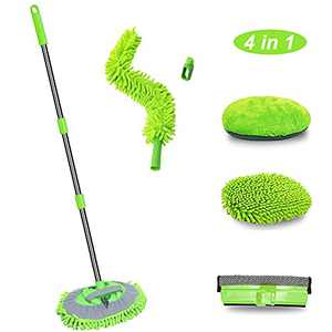 """KYLER Car Wash Brush Mop with Long Handle - 4 in 1 Car Cleaning Mop, 45"""" Washing Mop for Cars Wash, Adjustable Length Car Mop to Wash Car"""