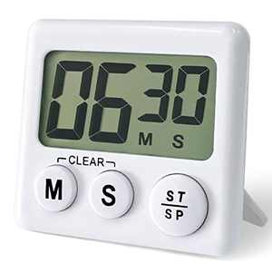 ATACAT Kitchen Timer, Digital Kitchen Timers Big Digits, Loud Alarm, Magnetic Backing, Back Stand for Cooking, Classroom, Bathroom, Teachers, Kids (White)