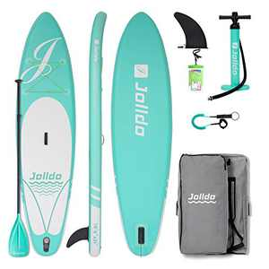"jolldo Inflatable Stand Up Paddle Board 10'6""×31""×6"" Ultra Light SUP Non-Slip Deck w Paddle, Pump, Backpack, Leash, Waterproof Case, Repair kit, Aqua"