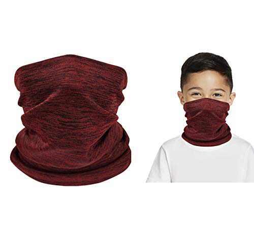 Kids Neck Gaiter Face Mask Face Covering for Children Bandana Face Scarf Headband(WineRed)
