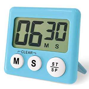 ATACAT Kitchen Timer, Digital Kitchen Timers Big Digits, Loud Alarm, Magnetic Backing, Back Stand for Cooking, Classroom, Bathroom, Teachers, Kids (Blue)