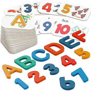 SMALL FISH Alphabet and Number Flash Cards for Toddlers 3-5 Years Old, Montessori, Kindergarten, and Preschool Educational Tool with 36 Wooden Jigsaw Puzzle Set with Animals, Colors, Box, and More