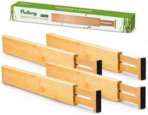 Purtuemy Kitchen Drawer Organizer(13-15.7 INCH) Bamboo Drawer Organizer Spring Loaded Adjustable Separators Utensil Organizer for Kitchen Bedroom Bathroom Desk and Office,Organizer Gift, 4-Pack