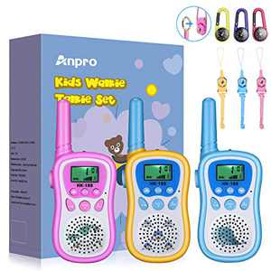 Anpro Walkie Talkies for Kids Toys 22 Channels 2 Way Radio Toy 3 KM Long Range with Backlit LCD Flashlight, Best Gifts for 3-12 Year Old to Outside Adventures, Camping, Hiking(3 Pack)