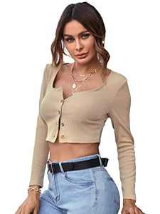 SOLY HUX Women's Scoop Neck Button Down Long Sleeve Ribbed Knit T Shirt Crop Top Khaki L