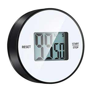 Kitchen Timer, LBHMEI Round Countdown Digital Timer with Loud Alarm Ring, Big Digit, 99-Minute Magnetic Kitchen Timer for Cooking, Shower, Bathroom, Yoga,Sports Kids, Teachers