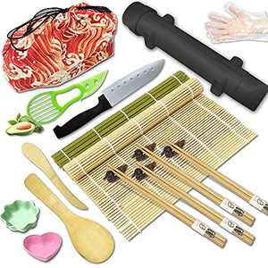 Suptilics Sushi Making Kit for Beginners DIY.Sushi Bazooka Mold,Bamboo Sushi Rolling Mat & Roller Machine for Sushi Maker,Sushi Kits for Home:Cannon/Dishes/Chopsticks/Guide