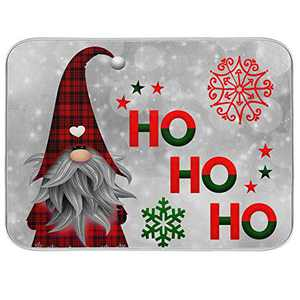 Dish Drying Mat for Kitchen Counter Absorbent Reversible Microfiber Sink Mats Dishes Rack Mat Bathroom Counter Pads Large Cute Santa 18x24 inch