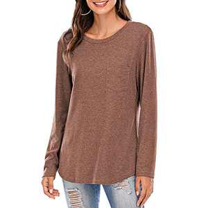 Women Short/Long Sleeve Tee Shirts Tunics Tops Comfy Casual Crew Neck Blouses Coffee